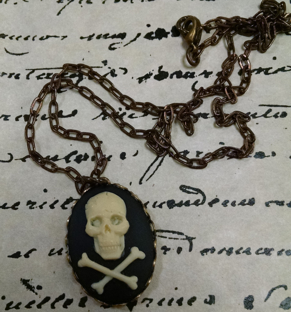 Skull Cameo Brass Necklace