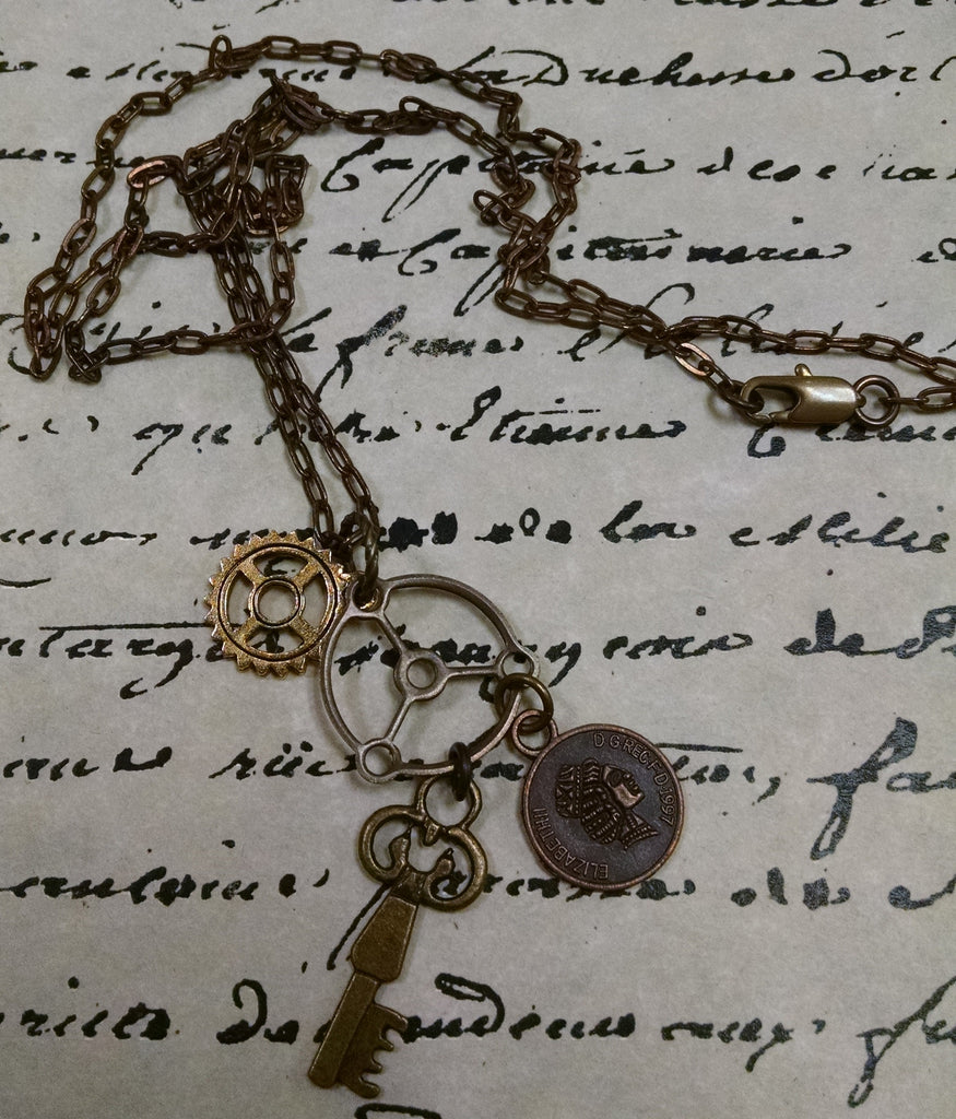 Steampunk Charm & Chain Necklace