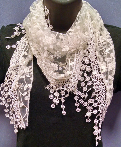 Floral Lace Tassel Scarf White