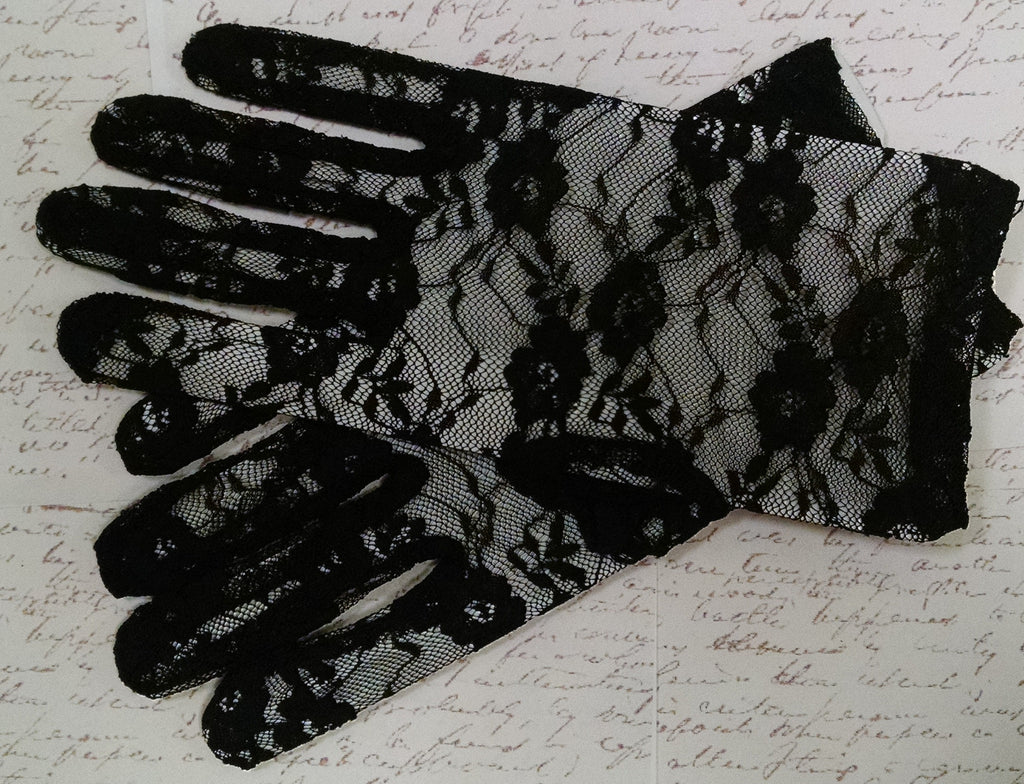Black Lace Tea Length Gloves