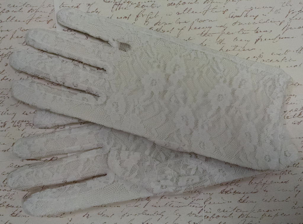 White Lace Tea Length Gloves