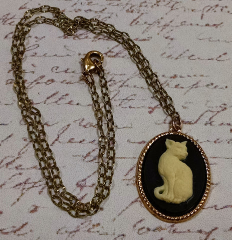 Cat Cameo Necklace