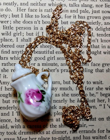 Pink Rosebud Teapot Necklace