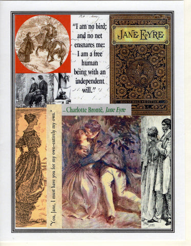 Jane Eyre ~ I AM NO BIRD ~ Collage Note Card