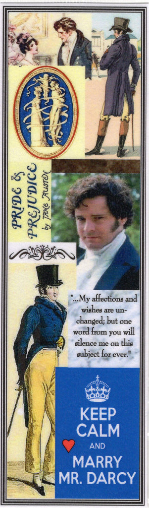 Keep Calm and Marry Mr. Darcy Collage Bookmark