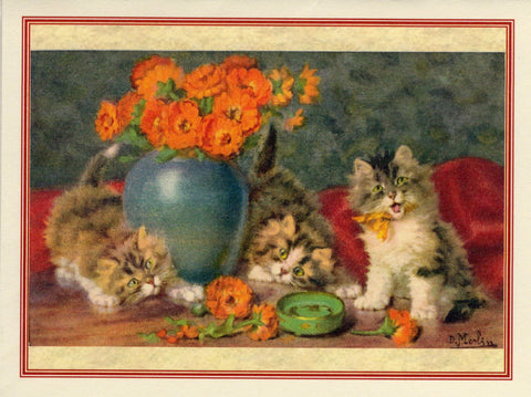 Kitties & Orange Flowers Note Card