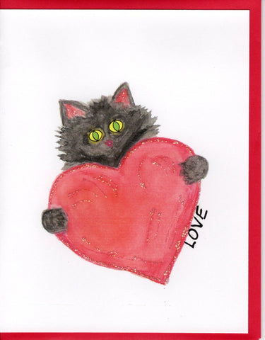 Love Cat Holding Heart Watercolor Glitter Card