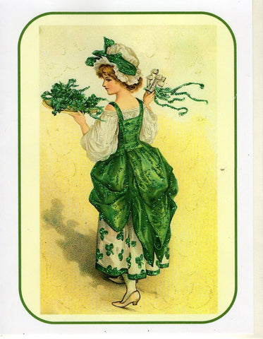 Lovely Lass & Shamrocks Glitter Note Card