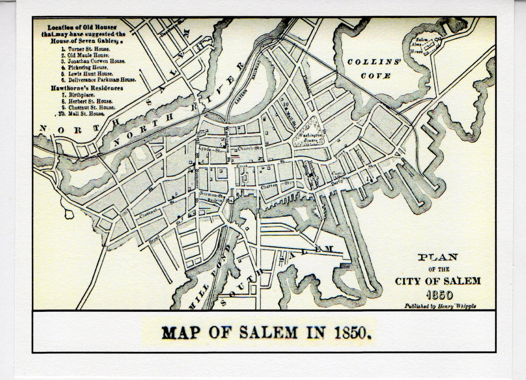 Map of Salem ~ 1850 Note Card