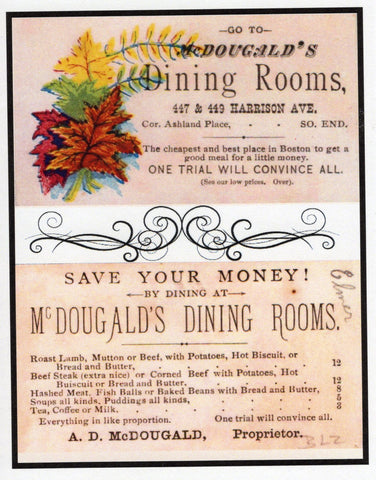 McDougald's Dining Rooms Menu, Boston ~ Note Card