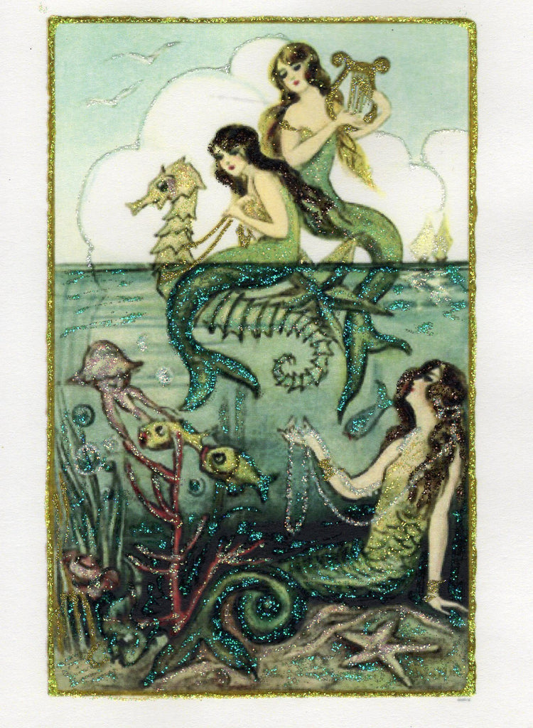 Above the Sea ~ Mermaids 5x7 Glitter Card