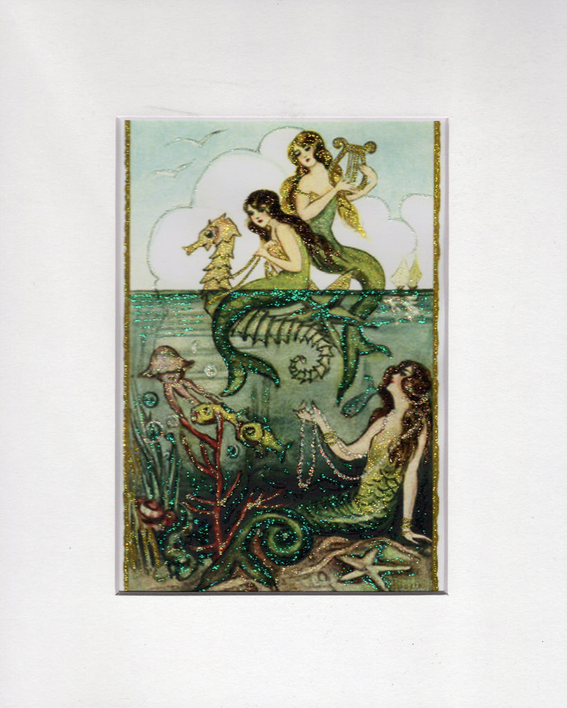 Above the Sea ~ Mermaids 5x7 Glitter Print in 8x10 Mat
