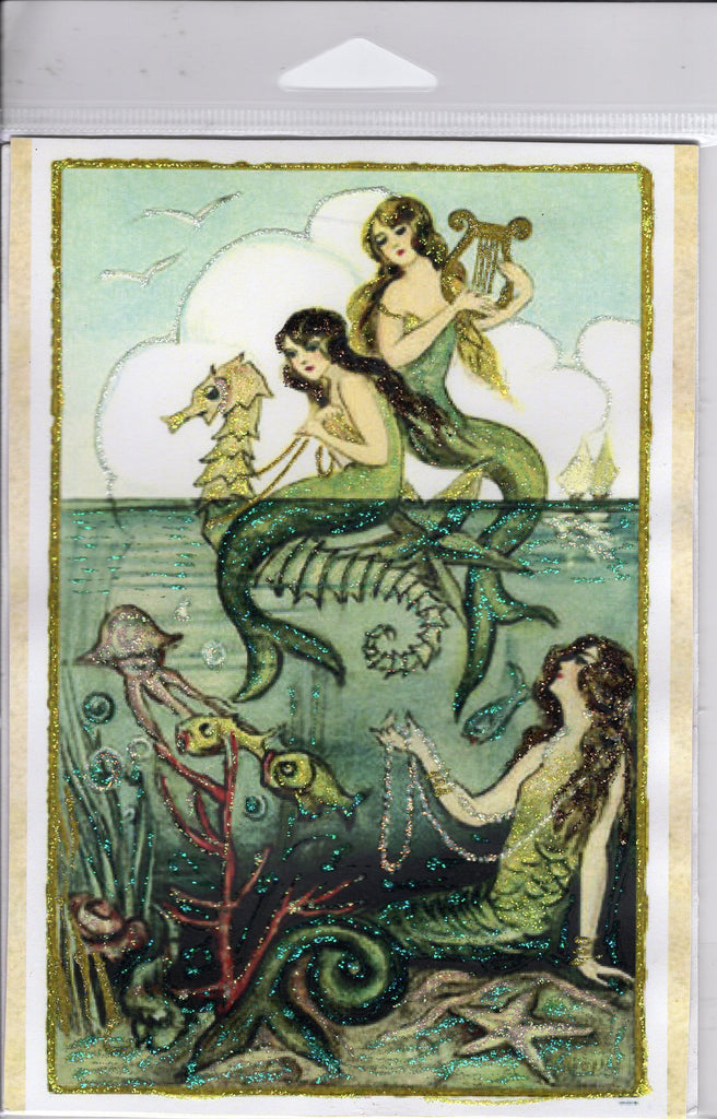 Above the Sea ~ Mermaids 5x7 Glitter Print