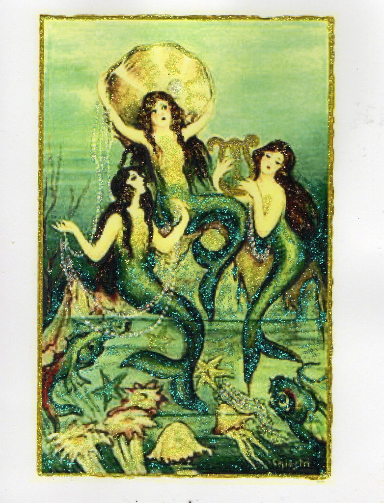 Under the Sea ~ Mermaids with Pearl Glitter Card