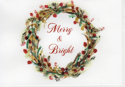 Merry & Bright Holiday Wreath Watercolor Glitter Card