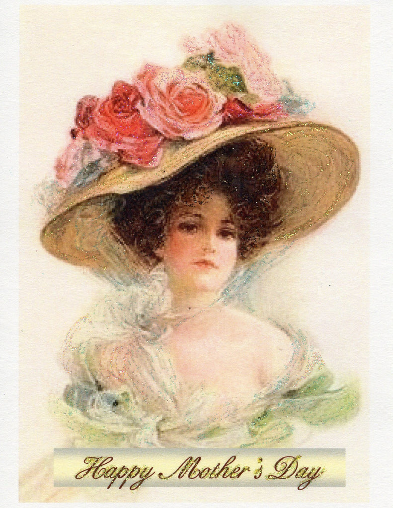 Happy Mother's Day ~ Victorian Lady in Hat with Roses