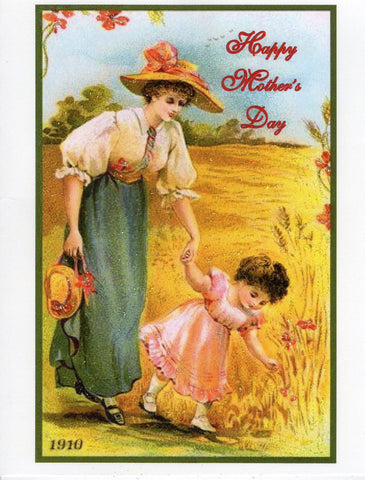 Happy Mother's Day ~ Mother and Child Picking Flowers