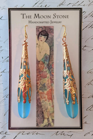1920s Sea Glass Drop Earrings ~ Aqua Blue