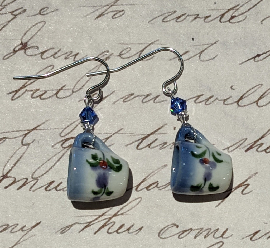 Blue Floral Mini Mug Earrings