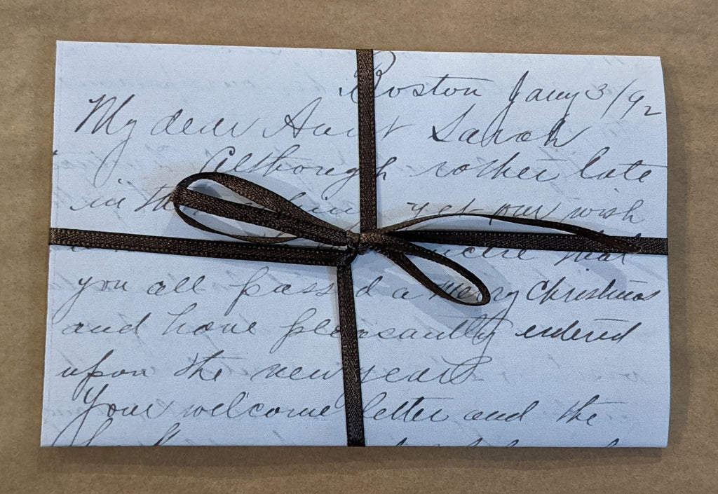 My Dear Aunt Sarah...Boston Letter 1892 ~ Reproduction of 1 Letter & Glittered New Year's Card
