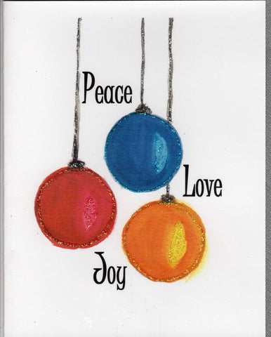 Peace Love Joy Ornament Watercolor Glitter Card