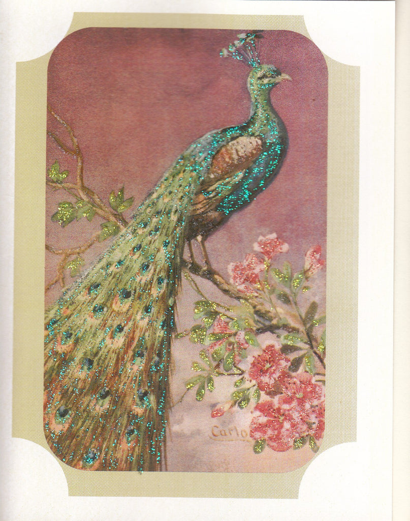 Perched Peacock Painting Glitter Card