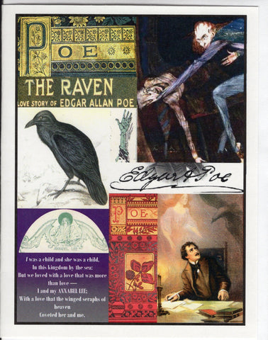 Edgar Allan Poe Collage Note Card