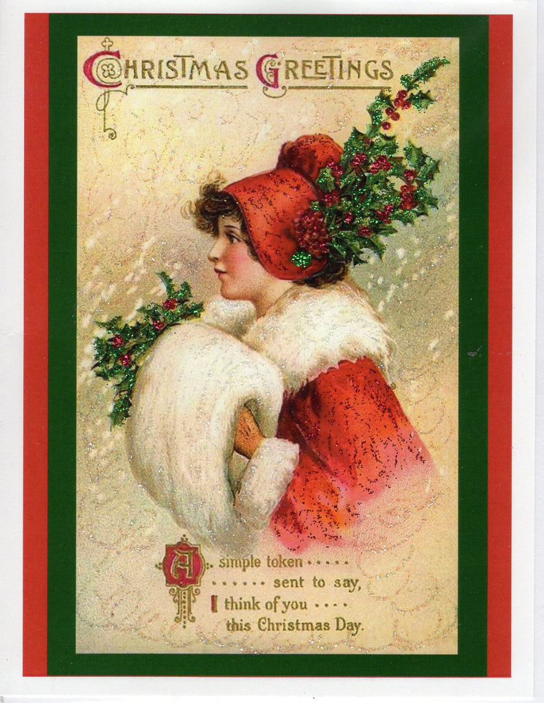 I Think of You This Christmas Day...Lady in Red Holly Bonnet Glitter Card