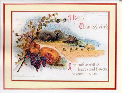 A Happy Thanksgiving ~ Ripe Fruits Thanksgiving Glitter Card