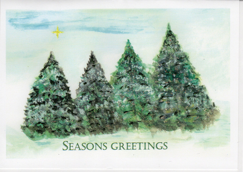 Seasons Greetings ~ Star Above Pine Trees Watercolor Glitter Card