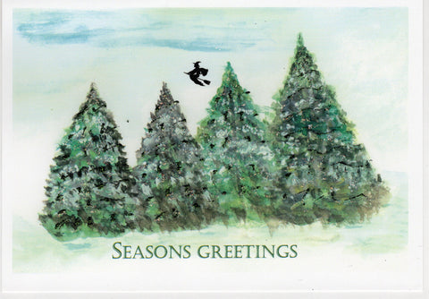 Seasons Greetings ~ Witch Above Pine Trees Watercolor Glitter Card