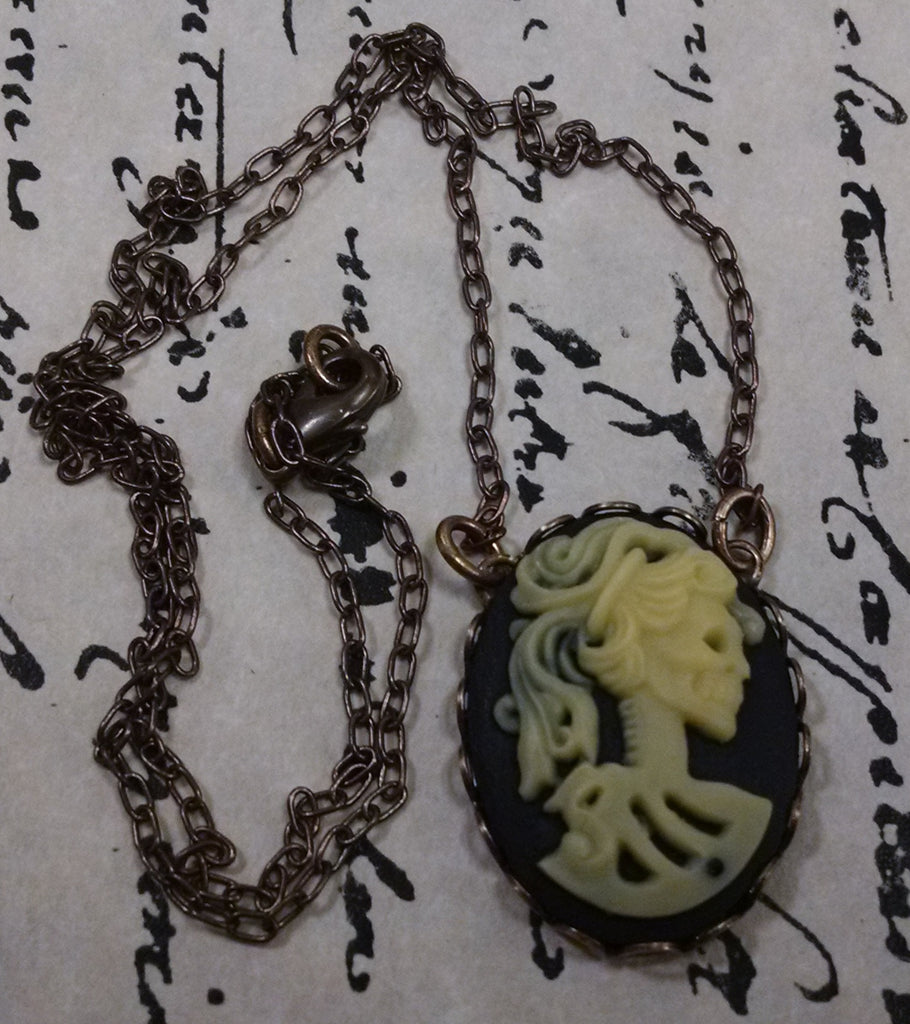 Victorian Lady Skull Cameo Necklace