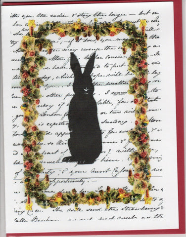 Standing Bunny Holiday Silhouette Note Card