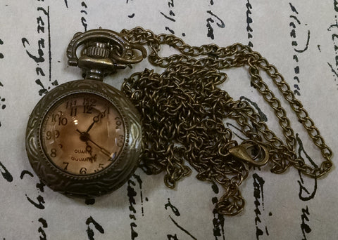 "Antique Tea ""Glass"" Mini Pocket Watch"