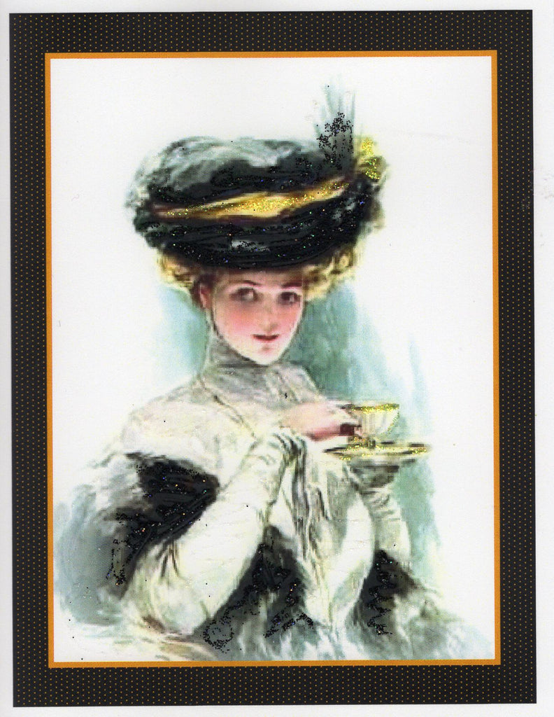 Tea Time ~ H. Fisher Lady 1900s Glitter Card