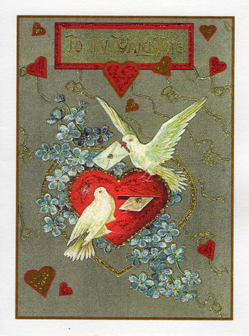 To My Valentine...Doves Deliver Letters