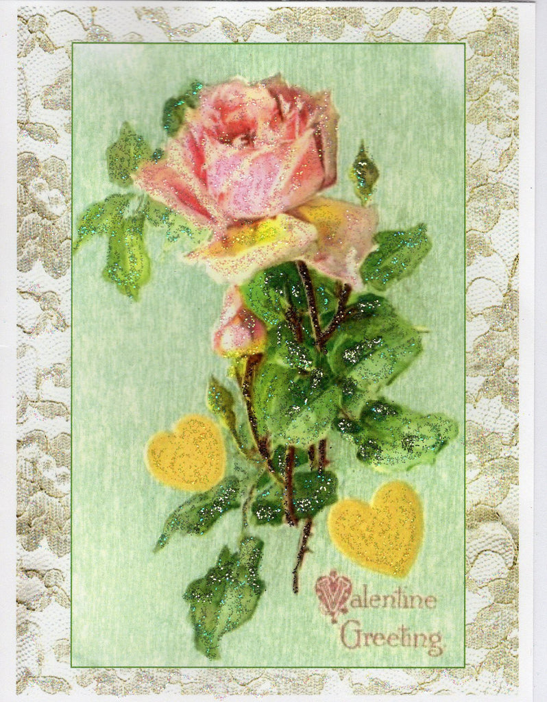 Valentine Greeting... Pink Rose & Lace