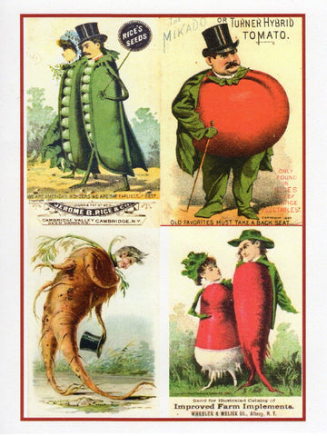 Victorian Vegetable Society Collage Note Card