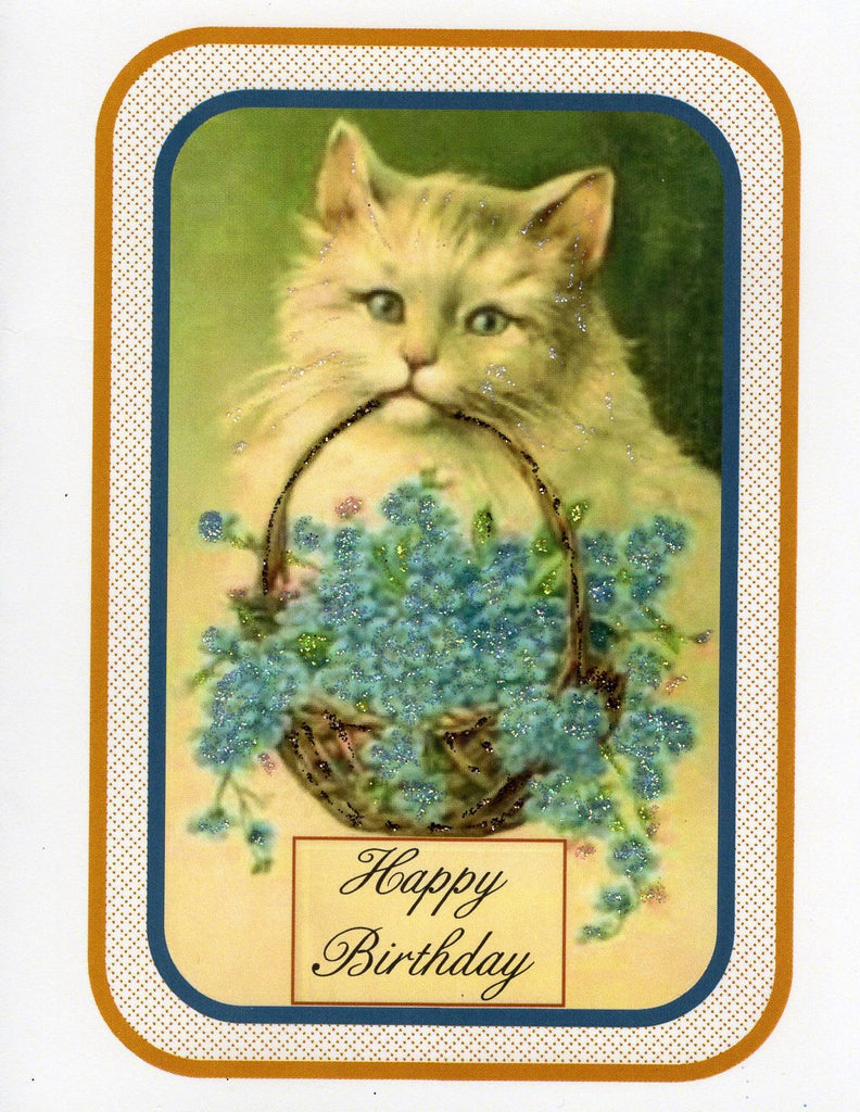 Victorian Kitty Birthday Glitter Card