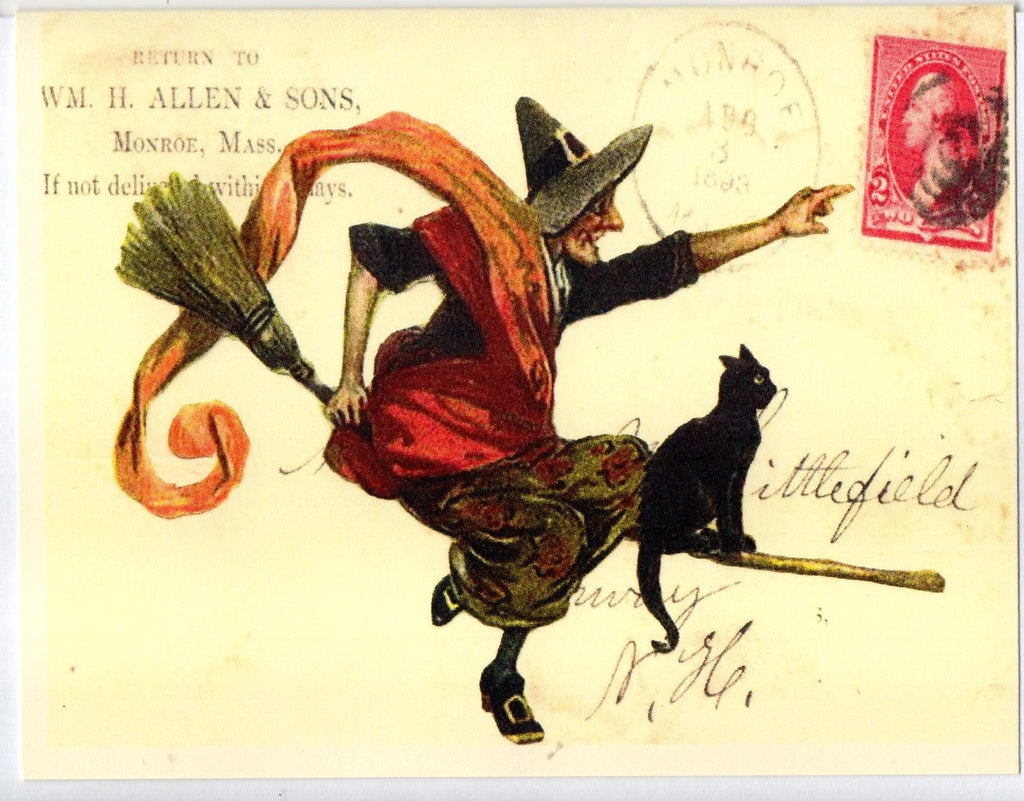 Witch & Cat on Broom Note Card