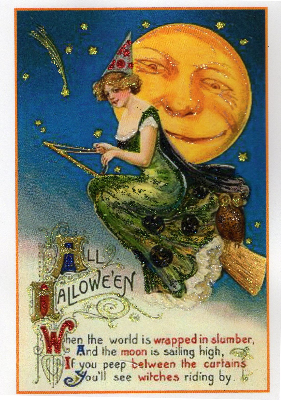 all halloween victorian witch & smiling moon glitter card – the