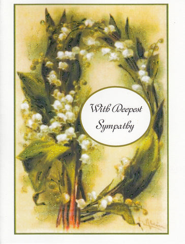 With Deepest Sympathy ~ Lilies of the Valley Glitter Card