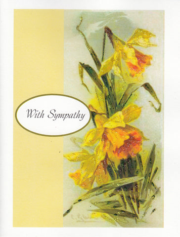 With Sympathy ~ Daffodils Glitter Card