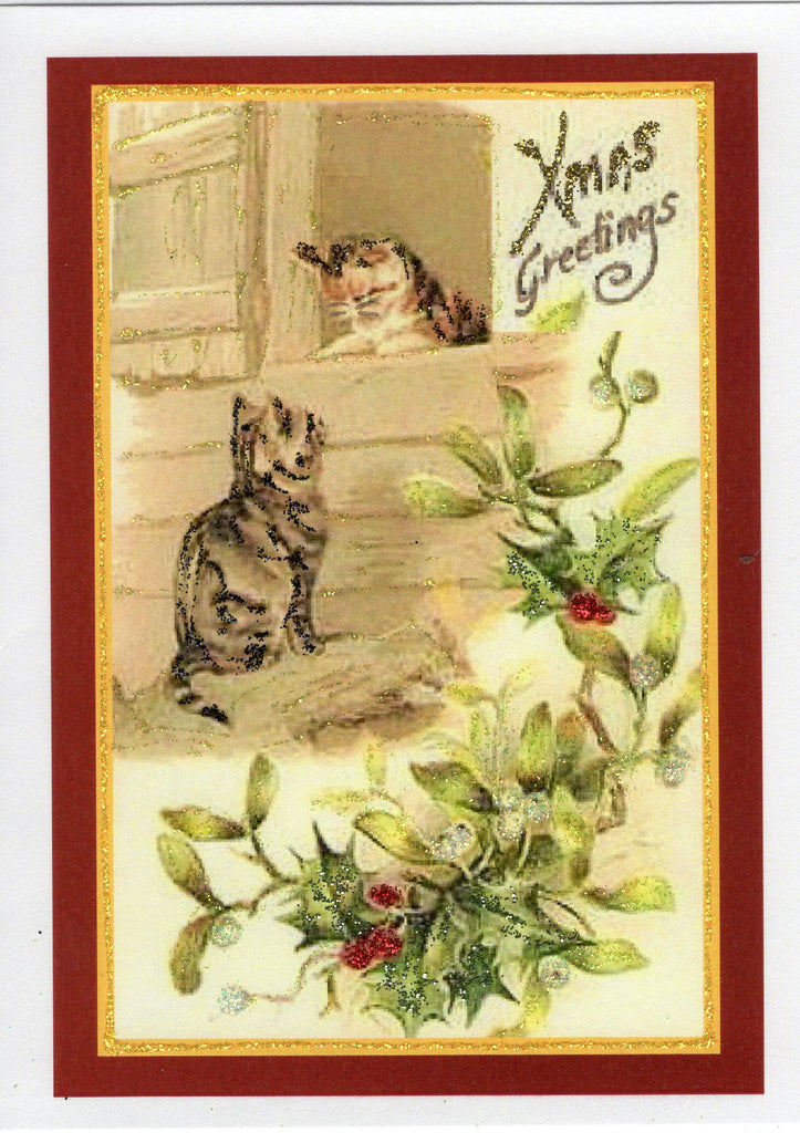 Christmas Greetings ~ Kittens at Barn Door