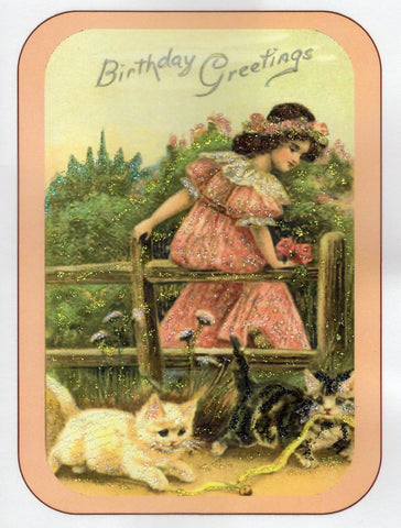 Birthday Greetings ~Girl on Fence with Kitties Glitter Card