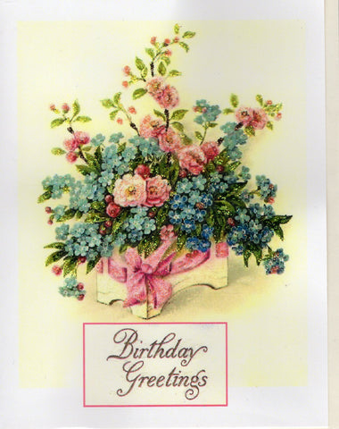 Birthday Greetings ~ Floral Bouquet Glitter Card
