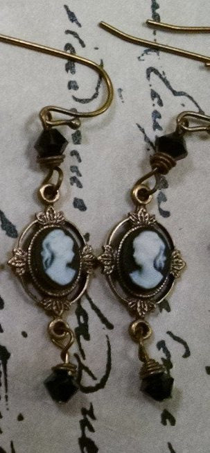 Antique Brass Cameo Earrings