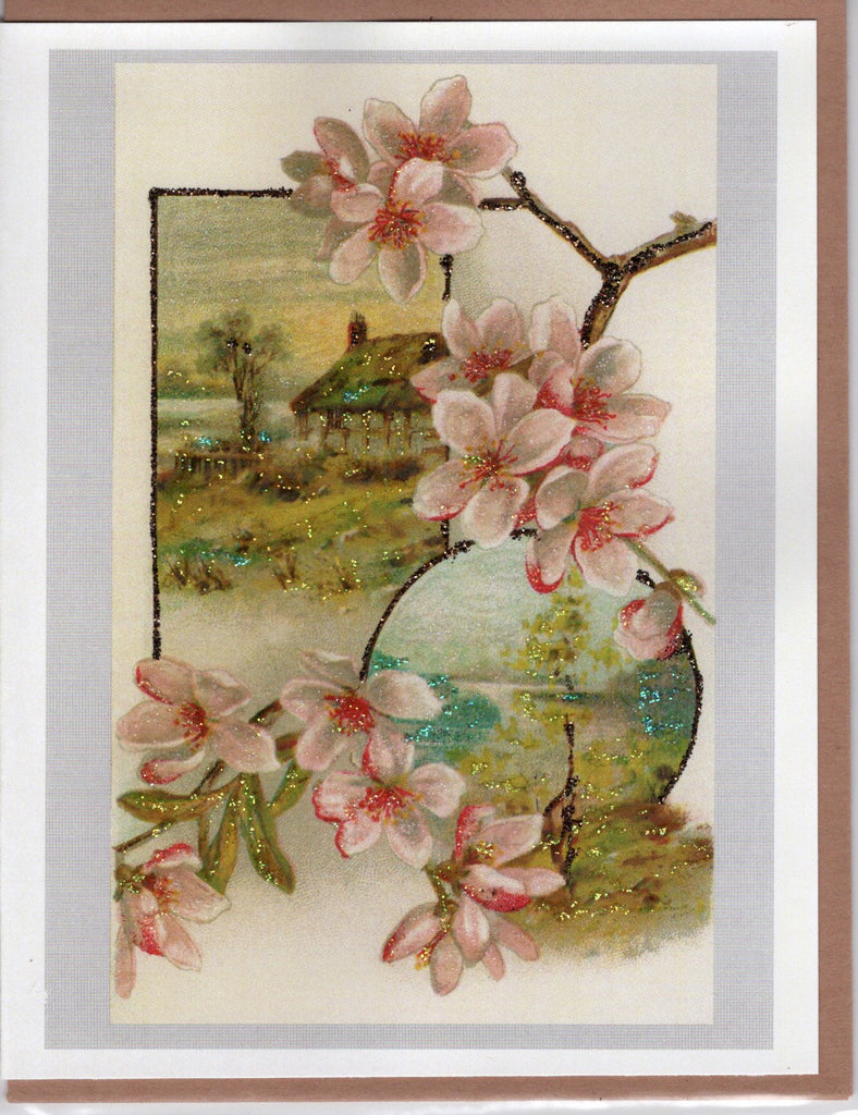 Spring Blossoms Over Landscape Glitter Card