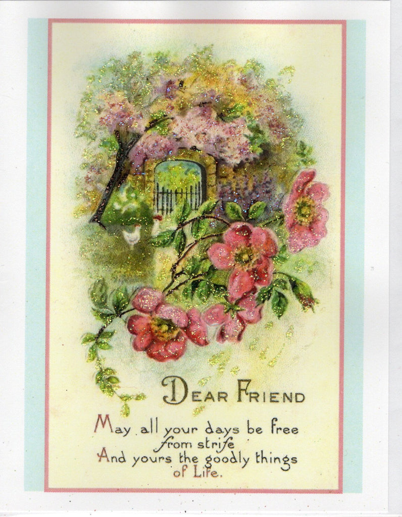 Dear Friend...Garden Wall Glitter Card