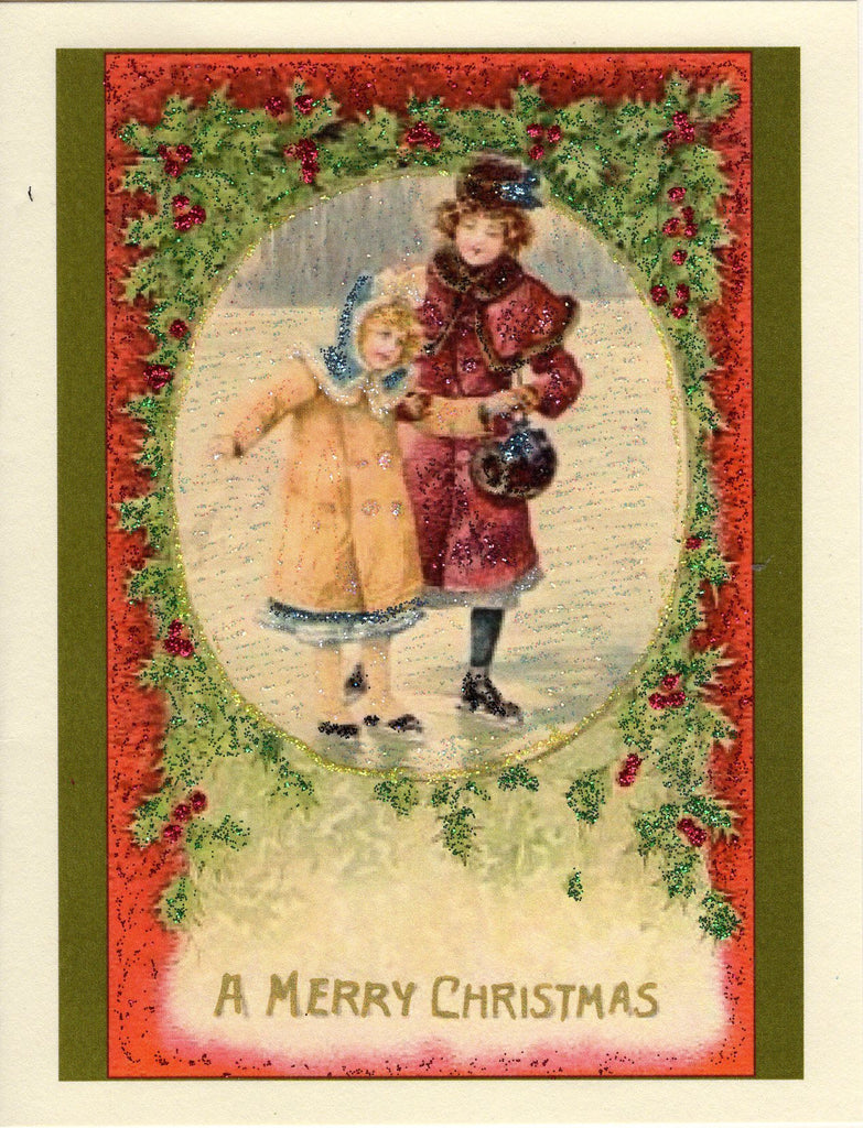 Ice Skaters...A Merry Christmas Glitter Card